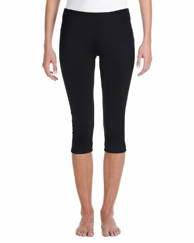 Bella Canvas Women's Cotton/Spandex Capri Fit Legging, Black, ()