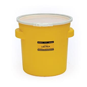 "Eagle 1652 Yellow Blow-Molded HDPE Lab Pack with Plastic Lever-Lock Lid, 20 gallon Capacity, 21"" Height, 21"" Diameter"