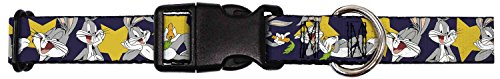 buckle-down-bugs-bunny-poses-stars-navy-plastic-clip-collar-wide-large-18-32