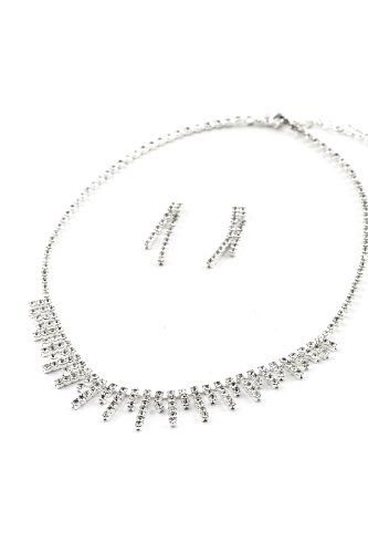 (Silver Crystal Rhinestone Long-short Lines Alternating Necklace & Matching 2 Strands Rows Dangle Earrings Jewelry)