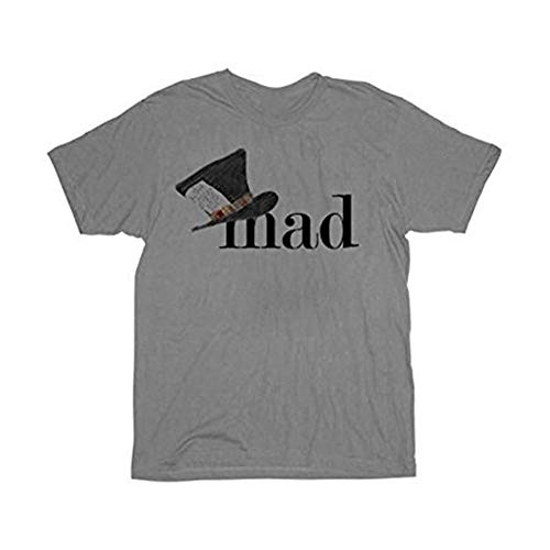 Alice In Wonderland Mad Hatter Hat Mens Gray T-shirt Tee ()