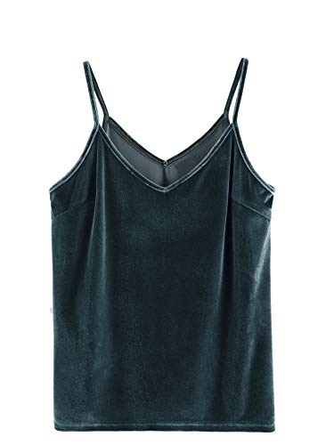 - SheIn Women's Casual Basic Strappy Velvet V Neck Cami Tank Top Small Blue