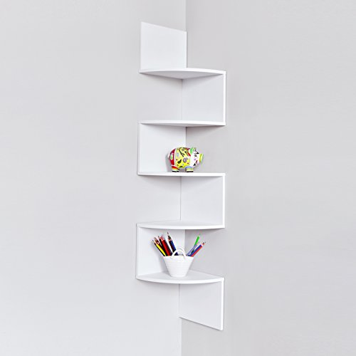 5 Shelving Accent Shelf (WELLAND Large 10 x 10 Inches 5 Tiers Corner Wall Shelf, White)