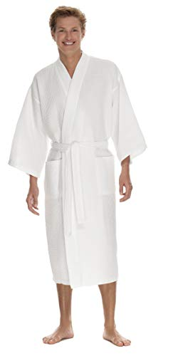 - Boca Terry Mens Robe, Lightweight Waffle Bathrobe - Medium Large White