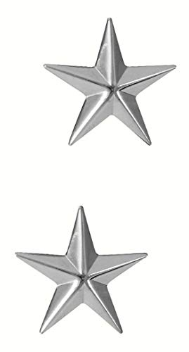 Polished Brigadier General Stars Insignia Set -SILVER (1706) (General Rank Insignia)