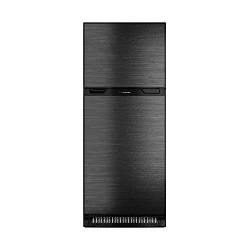 Furrion 10 cu. ft. Furrion Arctic 12 Volt Right Hinge Built-In Refrigerator (Black) for RV, Camper or Trailer with Independent Freezer – Black VCM Stainless Steel Door Panel – FCR10DCDTA-BL-BS