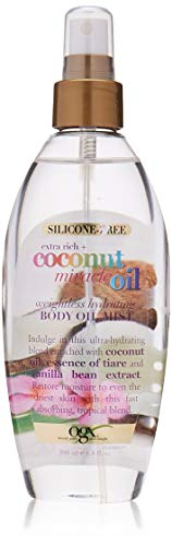 - OGX Extra Rich + Coconut Miracle Oil Weightless Hydrating Silicone-Free Body Oil Mist, 6.8 Ounce