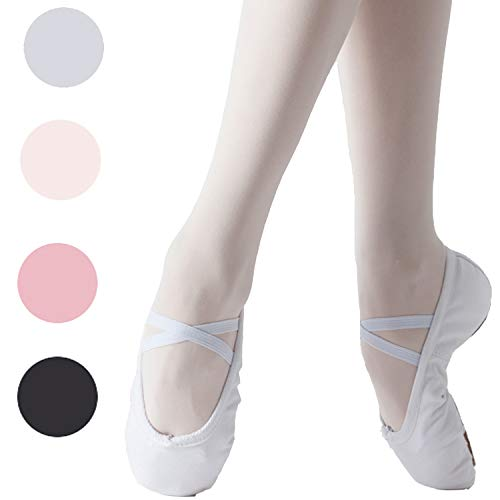 Koolen Ballet Shoes, Canvas Upper & Leather Sole Ballet Slippers, Ballet Dance Shoes for Girls (Toddler/Little Kid/Big Kid/Women) White - White Leather Ballerina
