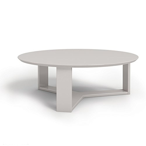 35.78 Inch Round Off White Made With MDF Material Glossy Finish  Contemporary And Modern Style Accent Coffee Table