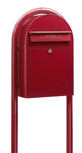 Superior Mailbox Post (USPS Bobi Classic Red Front Access Secures Cylinder Lock of 2 keys Freestanding/Wall-mounted Spacious Mailbox (Post, Stand Letter Box, Lock, Keys Included))
