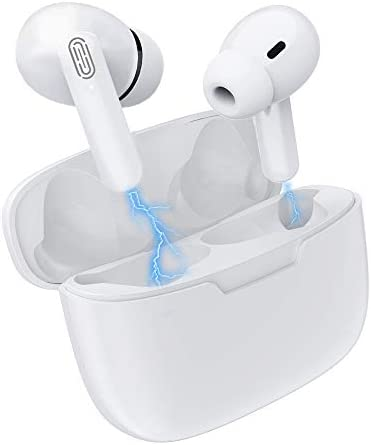 Wireless Earbuds Bluetooth 5.1 Headphones with [24 hrs Playing time] Pop-ups Auto Pairing,Noise Cancelling (Wireless Charging Case Included) IPX7 Waterproof Built-in Mic Earbuds for Android airpods