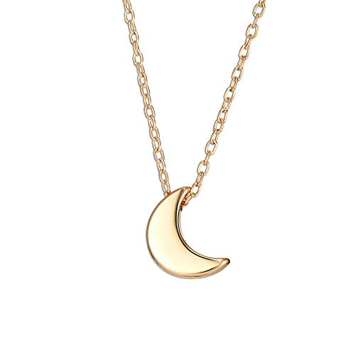 Jovono Fashion Necklace Moon Pendant Jewelry Chain for Women and Girls (Gold)