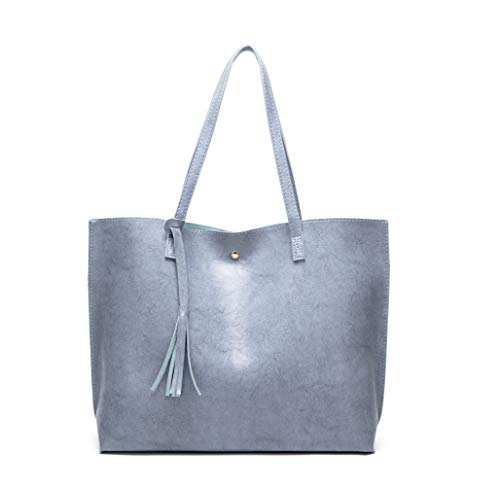- Women's Soft Faux Leather Tote Shoulder Bag from Dreubea, Big Capacity Tassel Handbag Blue (New Style)