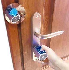 Cerradura inteligente para puerta con cerradura electr/ónica contrase/ña de doble motor y Bluetooth con 1 tarjeta RFID WE.LOCK funda a prueba de agua