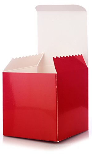 12 Pack of Premium Square High Gloss Red Gift Boxes for Party Favors, Coffee Mugs, Candy - Size 4