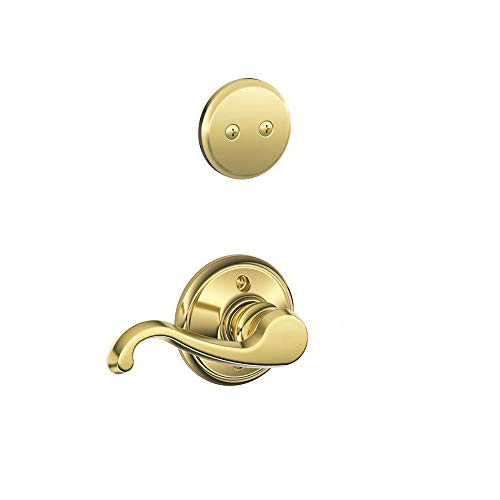 Schlage F94 Callington Left Hand Dummy Interior Trim Bright Brass Finish