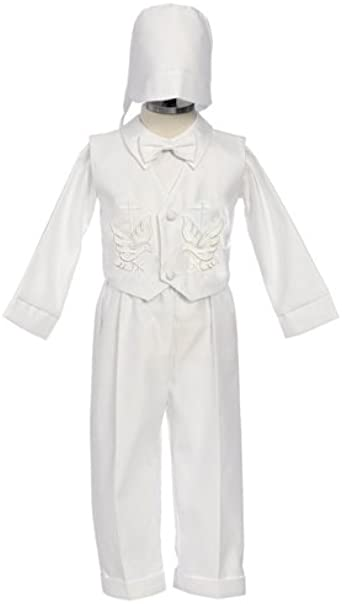 9M to 24M Boy Baptism Outfit Embroidered Dove and Cross