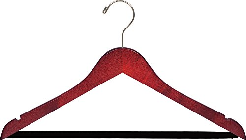 The Great American Hanger Company Wood Suit Hanger w/Velvet Non-Slip Bar, Box of 100, 17 Inch Flat Wooden Hangers w/Cherry Finish & Brushed Chrome Hook & Notches for Shirt Dress or Pants