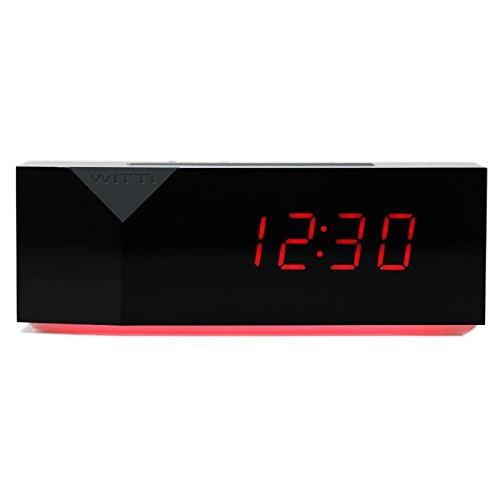 WITTI BEDDI Charge | Alarm Clock with Night Light and 3 USB Port Station, Black