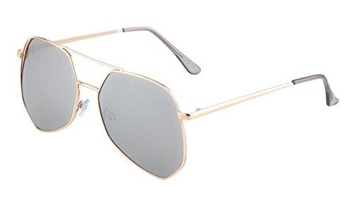 Geometric Large Aviator Sunglasses Metal Frame Mod Fashion Eyewear (Gold/Silver, - Mykita Sunglases