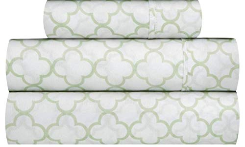 Waverly Traditions Framework Mint Green & White Trellis Print 3-Pc. Bed Sheet Set (Twin)