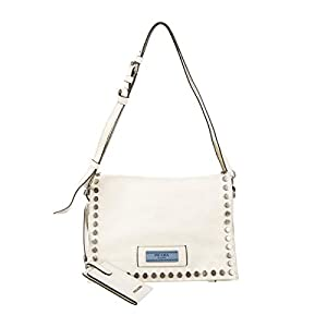 Prada Etiquette Pattina Bianco White Glace Calf Leather Studded Crossbody Handbag 1BD082