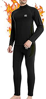 MEETYOO Men's Thermal Underwear Set, Sport Long Johns Base Layer for Male, Winter Gear Compression Suits f