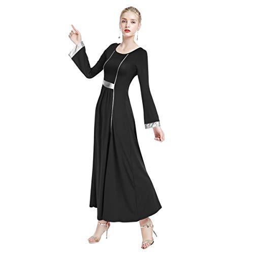 FYMNSI Women Long Sleeve Liturgical Praise Seamed Dance Robe Worship Dress Full Length Wide Swing Loose Fit Dancewear Black & Silver L