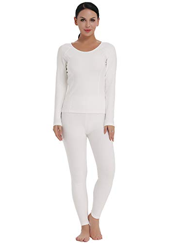 Amorbella Women's Long Thermal Underwear Snow Shirt and Leggings for Cold weather (White, XL) ()
