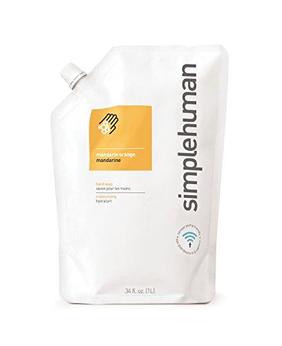 simplehuman Mandarin Orange Moisturizing Liquid Hand Soap Refill Pouch, 34 Fl. - Blossom Soap Orange Hand