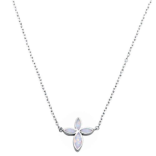(Lab Created Opal Cross .925 Sterling Silver Pendant Necklace Two Colors Available (Lab Created White Opal) )