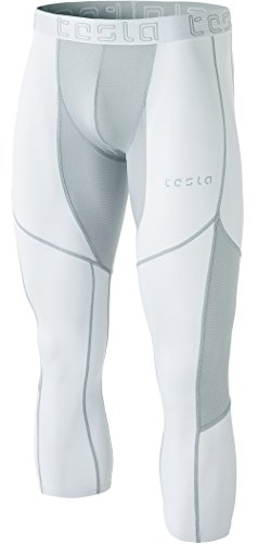 TM-MUC78-WTL_X-Small Tesla Men's Mesh-Panel Compression Capri Baselayer Cool Dry Sports Tights MUC78