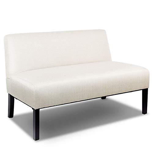 Giantex Armless Loveseat Sofa Modern Sofa Chair Couch Wood Living Room Leisure Fabric Furniture (Beige)