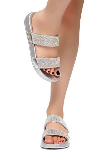 Herstyle Anabell Womens Fashion Rhinestone Platform Sliders Slip On Mules Summer Shoe Sandals Silver 9.0 ()