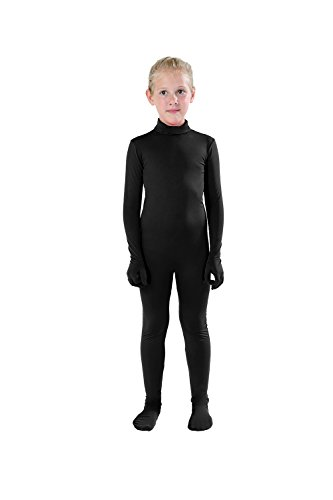 Full Bodysuit Kids Dancewear Solid Color Lycra Spandex Zentai Child Unitard (Large, Black)
