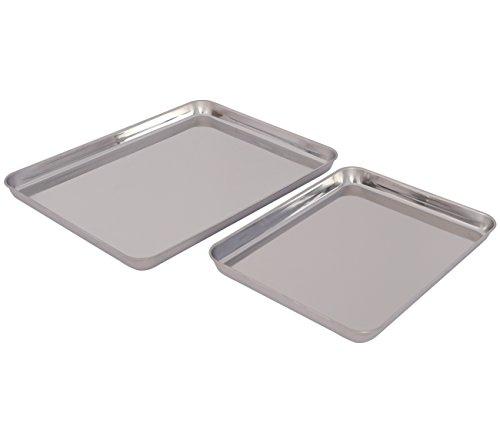 TQVAI Stainless Steel Baking Cookies Sheet Jelly Roll Pan Set, Set of 2