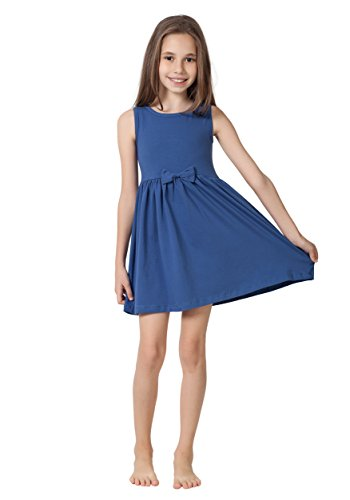 CAOMP Girls Casual Sleeveless Swing Dress, Organic Cotton, Spandex, Scoop Neck, Tagless, 9-10, -