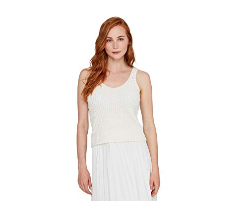 State Cashmere Women's Tape Yarn Tank Sweater Bright White