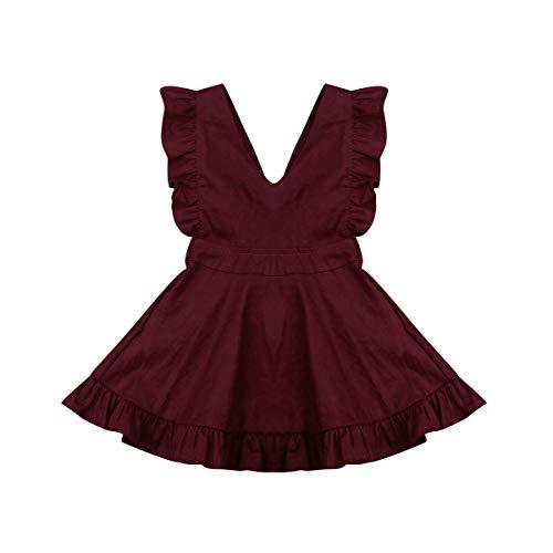Hwaikun Toddler Tutu Dress Infant Sleeveless Vest Skirt Baby Backless Cute Romper for Girl Ruffle Skirt, Ages for 6Mos-5T (Wine (V-Neck), 3-4 T)]()