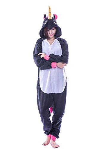 Festival Costume Simple (Adult Unicorn Onesie Pajamas Kigurumi Cosplay Animal Costumes Outfit (X-Large, Black Unicorn))