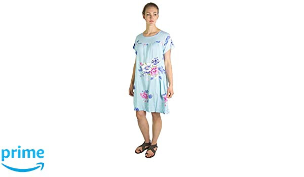 05acf3d783 Sakkas 18215 - Aila Women Summer Casual Short Sleeve Flowy Cover up Dress  Floral Print - Baby Blue - OS at Amazon Women's Clothing store:
