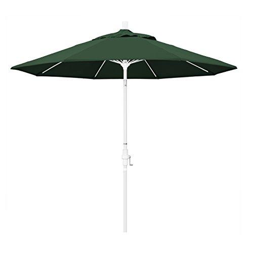 California Umbrella 9' Round Aluminum Pole Fiberglass Rib Market Umbrella, Crank Lift, Collar Tilt, White Pole, Hunter Green Olefin