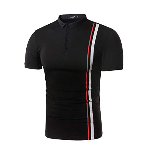 POQOQ T Shirts Polo Tops Blouse Men's Short Sleeve Casual Polo Shirts Polyester Men's Air Soft Touch Polo Shirt Classic Fit T-Shirt M Black ()