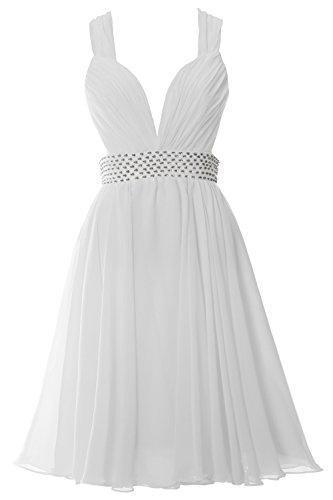formale Donna Sexy Cinghie MACloth a Chiffon V Breve feste nbsp;– White Scollo nbsp;Vestito abito nqvn71S