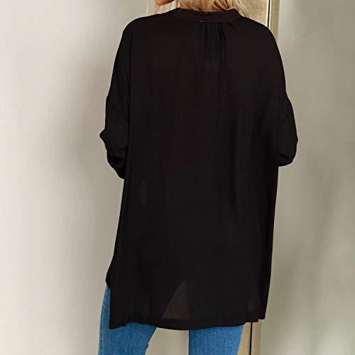 Blouse lgant Costume Manche Uni Casual Haut Irrgulier Blouse Confortable Tops Printemps Femme Schwarz V Cou Chemise Mode Longues Fourcher Manches Chic ExwXqHC