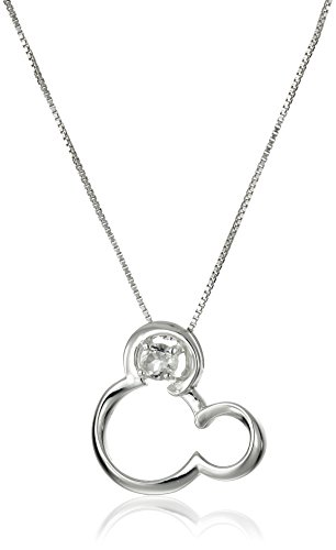 Disney Sterling Silver Open Mickey Mouse Image with Genui...