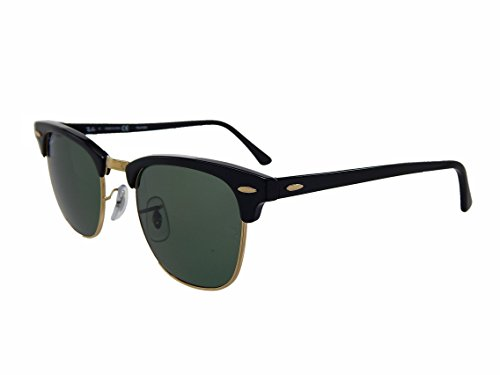 New Ray Ban Clubmaster RB3016 901/58 Black/Crystal Green Polarized 49mm - Ban Sunglasses 49mm Clubmaster Ray Rb3016