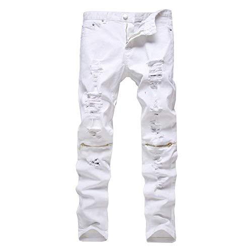 Casuales Cómodos Jeans Tamaños Jeans De Ripped Pantalones Pantalones Ropa Fashion Color Casual Cargo Los White06 Sólido Mezclilla Vintage Skinny Slim Biker De Hombres Pantalones xq8ttXwf0