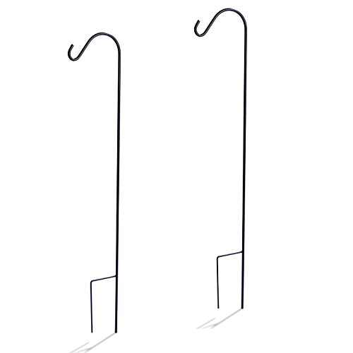 Comfort Valley Durable Single Shepherd Hook, Set of 2, for hanging flower baskets, wind chimes, and more (48 inch)