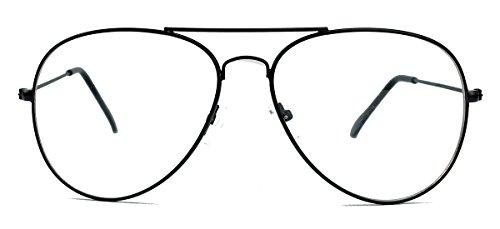 Klassische Pilotenbrille für Damen o Herren Nerdbrille 80er Jahre Brillengestell Klarglas AVN (Schwarz)